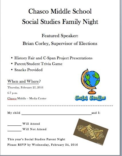 Social Studies Night Flyer